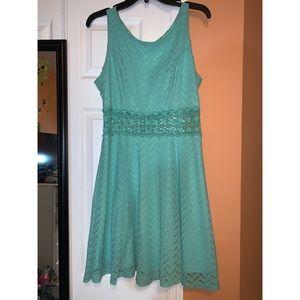 My Michelle- green mini dress- lace waist- size 13